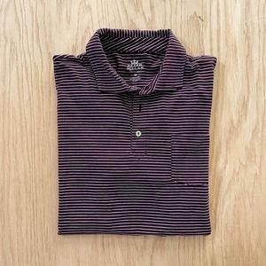 Mens Peter Millar Seaside Wash Burgandy Stretch Cotton Striped Polo Shirt M